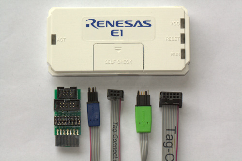 Renesas E1 with Tag-Connect cables and adapters