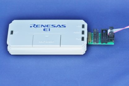 Renesas E1 debugger with TC-RENESAS adapter for plug-of-nail small PCB footprint cables