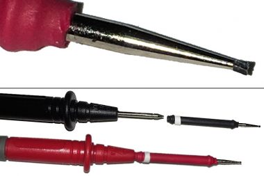 Non-slip probes with DVM probes and inset non-slip probe