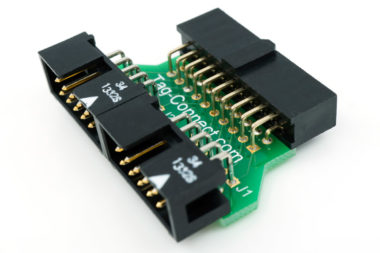 TC2050-2X10 adapter connecting 20 pin JTAG connector to 2 x TC2050-IDC cables