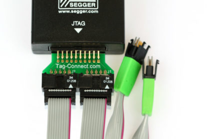 TC2050-2X10 adapter connecting 20 pin JTAG connector to 2 x TC2050-IDC cables with Segger Debugger