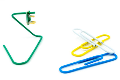 Green clip hanger for TC2030-CLIP & TC2050-CLIP plug-of-nails test/programming connectors with other colors shown