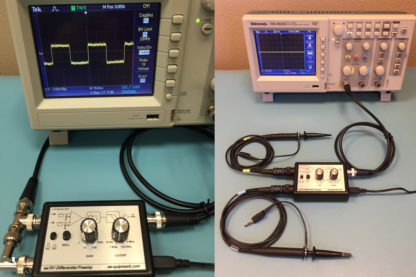 ee-701 typical setup and connected to oscilloscope showing 10uV 25KHz square wave