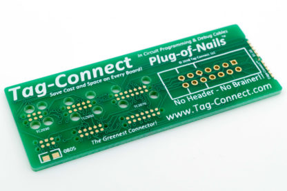 Tag-Connect demo board for small PCB footprint plug-of-nails and edge-connect