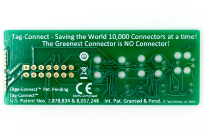 Tag-Connect demo board for small PCB footprint plug-of-nails and edge-connect - back