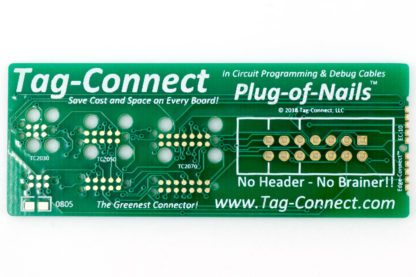 Tag-Connect demo board for small PCB footprint plug-of-nails and edge-connect - front