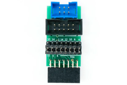 TC-RENESAS adapter for Renesas E1 and E8 debuggers for use with plug-of-nails bales with small PCB footprint