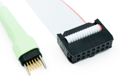 TC2050-IDC-430-NL cable with 10 pin no-legs plug-of-nails and 14 pin IDC connector view