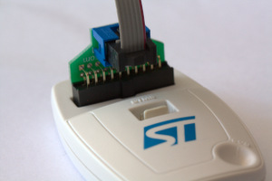 ST-LINK/V2 with ARM20-CTX adapter and TC2030-IDC 6 pin cable installed