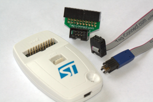 ST-LINK/V2 with ARM20-CTX adapter and TC2030-IDC 6 pin cable