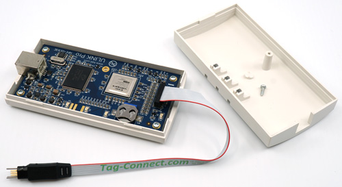 ULINK Pro with TC2030-CTX debug/programming cable installed in MIPI-20 connector
